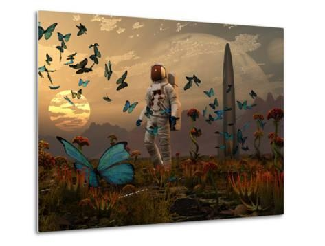 A Astronaut Is Greeted by a Swarm of Butterflies on an Alien World-Stocktrek Images-Metal Print