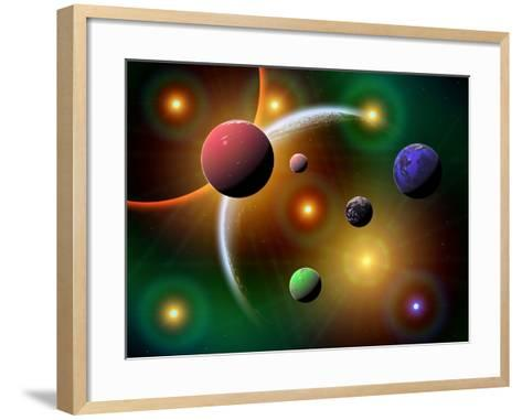 Illustration of the Variations of Stars and Planets in the Milky Way Galaxy-Stocktrek Images-Framed Art Print