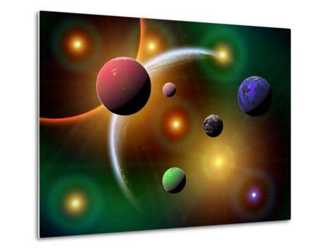 Illustration of the Variations of Stars and Planets in the Milky Way Galaxy-Stocktrek Images-Metal Print