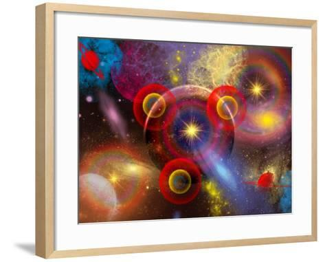 Artist's Concept of Planets and Stars Mixed Together in an Ever-Changing Nebula-Stocktrek Images-Framed Art Print