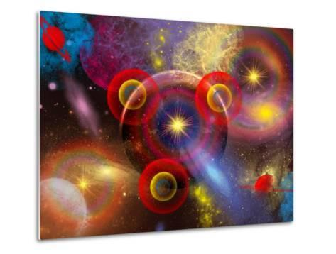 Artist's Concept of Planets and Stars Mixed Together in an Ever-Changing Nebula-Stocktrek Images-Metal Print