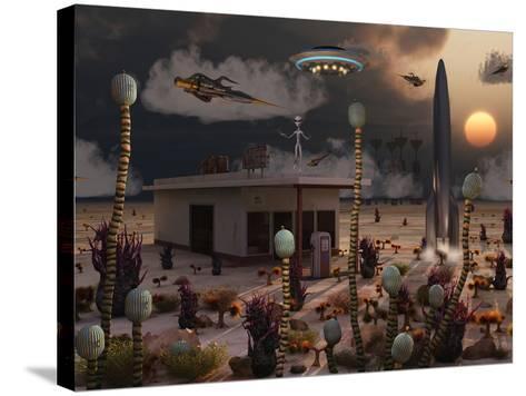 Artist's Concept of a Science Fiction Alien Landscape-Stocktrek Images-Stretched Canvas Print
