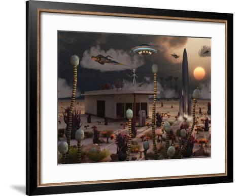 Artist's Concept of a Science Fiction Alien Landscape-Stocktrek Images-Framed Art Print