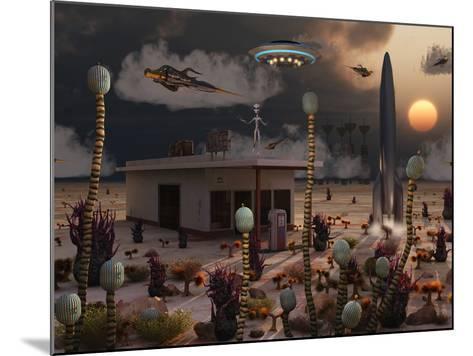 Artist's Concept of a Science Fiction Alien Landscape-Stocktrek Images-Mounted Photographic Print