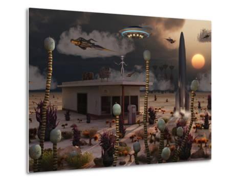 Artist's Concept of a Science Fiction Alien Landscape-Stocktrek Images-Metal Print