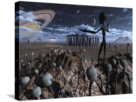 Alien Explorers on an Alien World-Stocktrek Images-Stretched Canvas Print