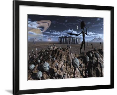 Alien Explorers on an Alien World-Stocktrek Images-Framed Art Print