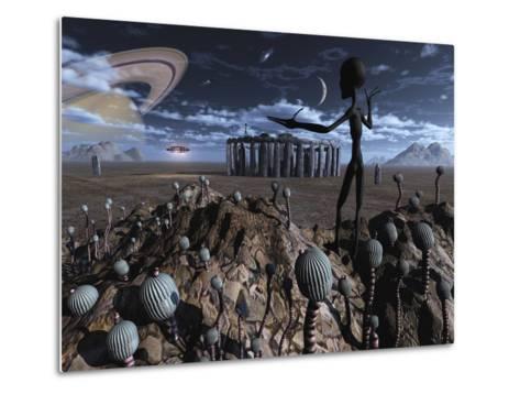 Alien Explorers on an Alien World-Stocktrek Images-Metal Print