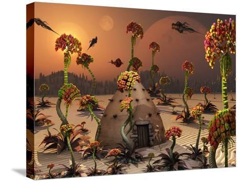 An Alien Landscape Where the Plants Reach Enormous Sizes-Stocktrek Images-Stretched Canvas Print