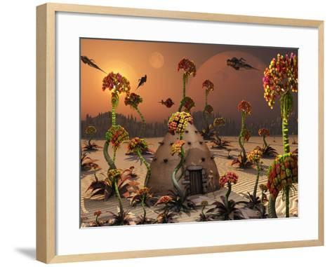 An Alien Landscape Where the Plants Reach Enormous Sizes-Stocktrek Images-Framed Art Print