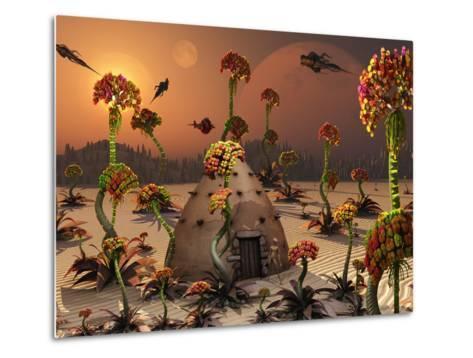 An Alien Landscape Where the Plants Reach Enormous Sizes-Stocktrek Images-Metal Print
