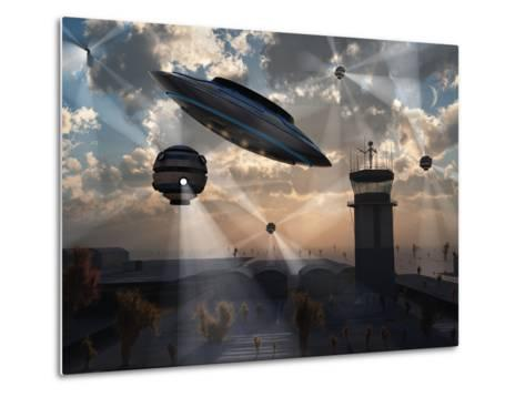 Artist's Concept of Stealth Technology Being Developed on Area 51-Stocktrek Images-Metal Print