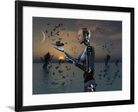 An Android Takes a Closer Look at a Butterfly-Stocktrek Images-Framed Art Print
