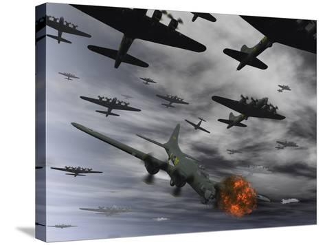 A B-17 Flying Fortress Is Set Ablaze by a German Interceptor Fighter Plane-Stocktrek Images-Stretched Canvas Print
