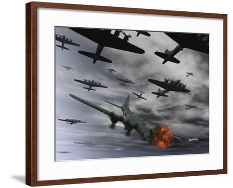A B-17 Flying Fortress Is Set Ablaze by a German Interceptor Fighter Plane-Stocktrek Images-Framed Art Print