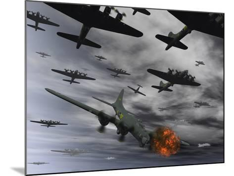 A B-17 Flying Fortress Is Set Ablaze by a German Interceptor Fighter Plane-Stocktrek Images-Mounted Photographic Print