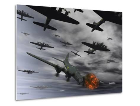 A B-17 Flying Fortress Is Set Ablaze by a German Interceptor Fighter Plane-Stocktrek Images-Metal Print