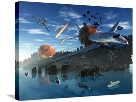 An Asteroid Rips Apart the Earth's Crust Causing Mass Destruction-Stocktrek Images-Stretched Canvas Print