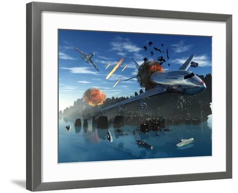 An Asteroid Rips Apart the Earth's Crust Causing Mass Destruction-Stocktrek Images-Framed Art Print