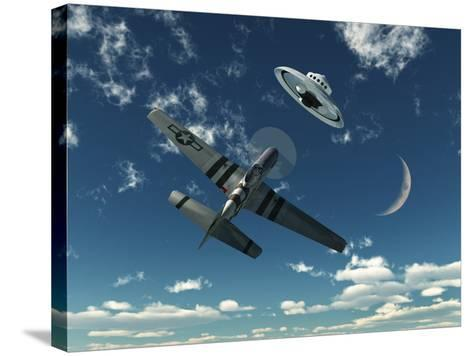 An American P-51 Mustang Gives Chase to a UFO-Stocktrek Images-Stretched Canvas Print