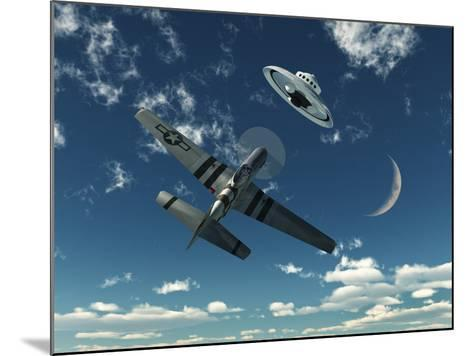 An American P-51 Mustang Gives Chase to a UFO-Stocktrek Images-Mounted Photographic Print