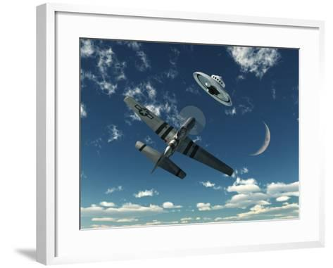 An American P-51 Mustang Gives Chase to a UFO-Stocktrek Images-Framed Art Print