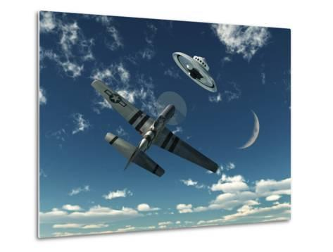 An American P-51 Mustang Gives Chase to a UFO-Stocktrek Images-Metal Print