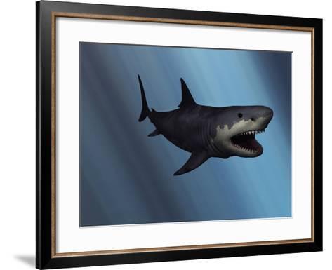 A Megalodon Shark from the Cenozoic Era-Stocktrek Images-Framed Art Print