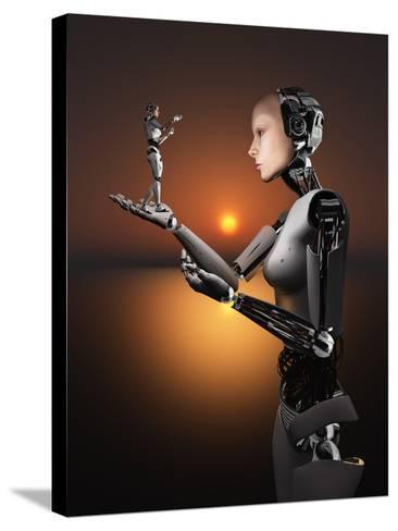 An Android Takes a Closer Look at a Representation of Herself-Stocktrek Images-Stretched Canvas Print