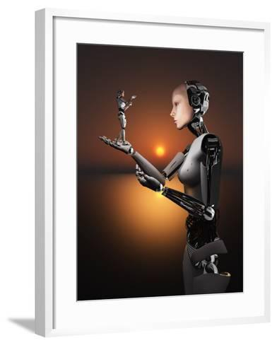 An Android Takes a Closer Look at a Representation of Herself-Stocktrek Images-Framed Art Print