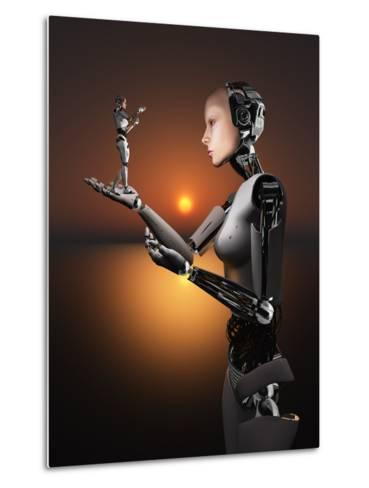 An Android Takes a Closer Look at a Representation of Herself-Stocktrek Images-Metal Print