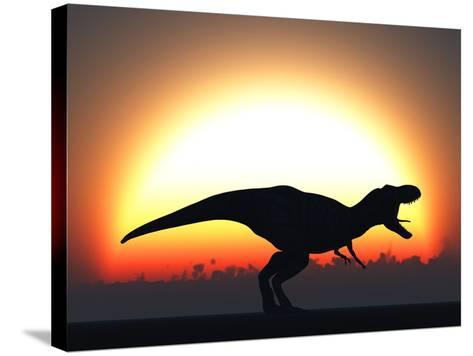 A T. Rex Silhouetted Against the Setting Sun at the End of a Prehistoric Day-Stocktrek Images-Stretched Canvas Print