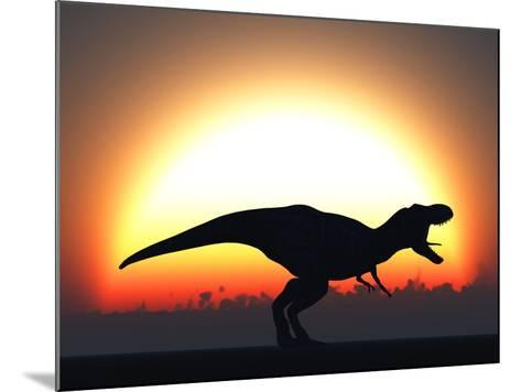 A T. Rex Silhouetted Against the Setting Sun at the End of a Prehistoric Day-Stocktrek Images-Mounted Photographic Print