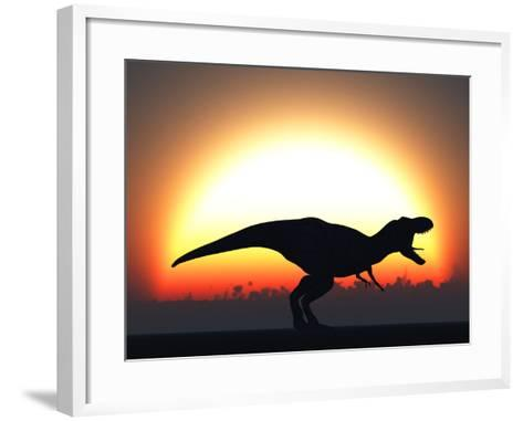 A T. Rex Silhouetted Against the Setting Sun at the End of a Prehistoric Day-Stocktrek Images-Framed Art Print