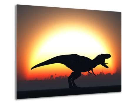 A T. Rex Silhouetted Against the Setting Sun at the End of a Prehistoric Day-Stocktrek Images-Metal Print