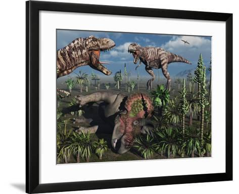 Two T. Rex Dinosaurs Confront Each Other over a Dead Triceratops-Stocktrek Images-Framed Art Print