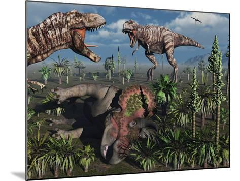 Two T. Rex Dinosaurs Confront Each Other over a Dead Triceratops-Stocktrek Images-Mounted Photographic Print