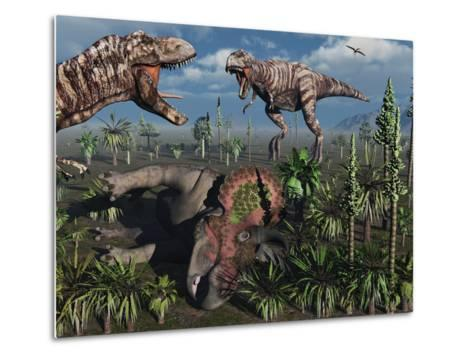 Two T. Rex Dinosaurs Confront Each Other over a Dead Triceratops-Stocktrek Images-Metal Print