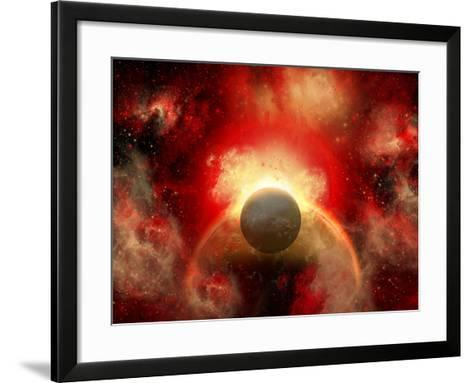 Artist' Concept Illustrating the Explosion of a Supernova-Stocktrek Images-Framed Art Print