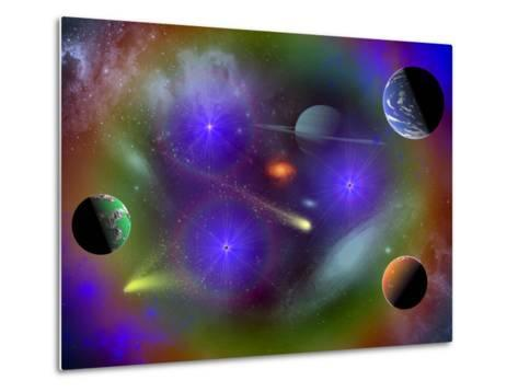 Conceptual Image of a Scene in Outer Space-Stocktrek Images-Metal Print