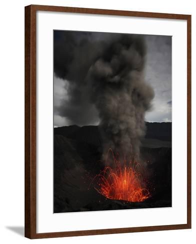 Strombolian Eruption of Mount Bromo Volcano, Tengger Caldera, Java, Indonesia-Stocktrek Images-Framed Art Print
