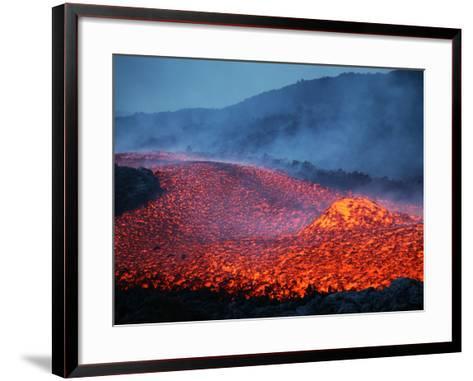 Boulder Rolling in Lava Flow at Dusk During Eruption of Mount Etna Volcano, Sicily, Italy-Stocktrek Images-Framed Art Print