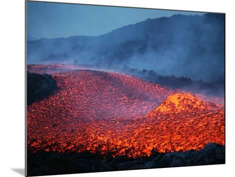 Boulder Rolling in Lava Flow at Dusk During Eruption of Mount Etna Volcano, Sicily, Italy-Stocktrek Images-Mounted Photographic Print