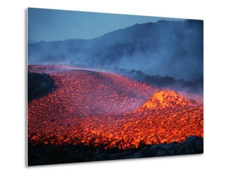 Boulder Rolling in Lava Flow at Dusk During Eruption of Mount Etna Volcano, Sicily, Italy-Stocktrek Images-Metal Print