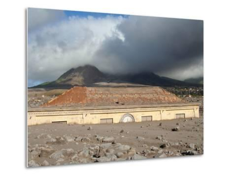 Plymouth Courthouse Buried in Lahar Deposits from Soufriere Hills Volcano, Montserrat, Caribbean-Stocktrek Images-Metal Print