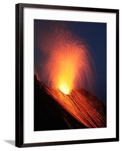 Strombolian Eruption of Stromboli Volcano, Aeolian Islands, Mediterranian Sea, Italy-Stocktrek Images-Framed Art Print
