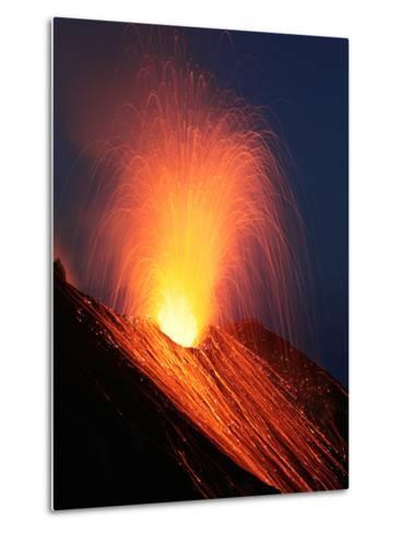 Strombolian Eruption of Stromboli Volcano, Aeolian Islands, Mediterranian Sea, Italy-Stocktrek Images-Metal Print