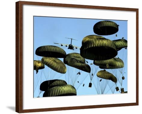 A U.S. Air Force C-17 Globemaster III Airdrops Pallets to Port-Au-Prince, Haiti-Stocktrek Images-Framed Art Print