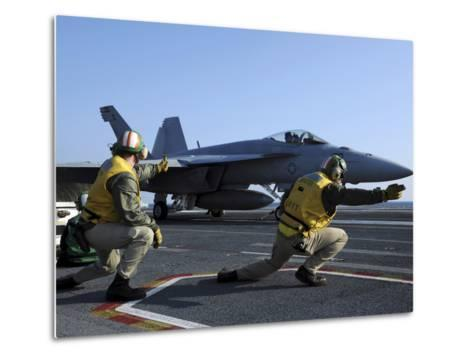 Shooters Aboard the USS George H.W. Bush Give the Go-Ahead Signal to Launch an F/A-18 Super Hornet-Stocktrek Images-Metal Print