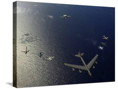A U.S. Air Force B-52 Stratofortress Aircraft Leads a Formation of Aircraft-Stocktrek Images-Stretched Canvas Print